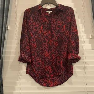 Maurice's Red Leopard Print Button Up Blouse XS